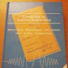Libros de segunda mano de Ciencias: ELEMENTOS DE ANÁLISIS MATEMÁTICO (BALLVÉ / DELGADO / JIMÉNEZ / DE MARÍA / ULECIA) UNED. Lote 175361792