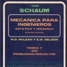 Libros de segunda mano de Ciencias: 0031482 MECÁNICA PARA INGENIEROS. ESTÁTICA Y DINÁMICA SERIE DE COMOPENDIOS SCHAUM T.... Lote 176298883