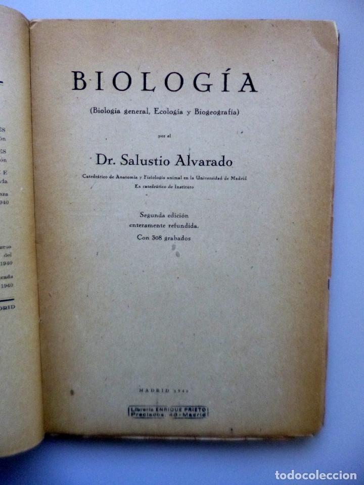 DR. SALUSTIO ALVARADO // BIOLOGÍA GENERAL, ECOLOGÍA Y BIOGEOGRAFÍA // 1940 (Libros de Segunda Mano - Ciencias, Manuales y Oficios - Biología y Botánica)