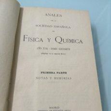 Livres d'occasion: ANALES DE LA SOCIEDAD ESPAÑOLA DE FÍSICA Y QUÍMICA. AÑO Y TOMO 17. MADRID, 1919.. Lote 178556913