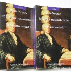 Libros de segunda mano de Ciencias: PRINCIPIOS MATEMÁTICOS DE LA FILOSOFÍA NATURAL (2 TOMOS) - ISAAC NEWTON. Lote 178857600