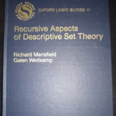 Libros de segunda mano de Ciencias: RECURSIVE ASPECTS OS DESCRIPTIVE SET THEORY OXFORD LOGIC GUIDES RICHARD MANSFIELD GALEN WEITKAMP. Lote 179133366