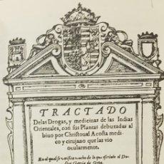 Libros de segunda mano: TRACTADO DE LAS DROGAS Y MEDICINAS DE LAS INDIAS ORIENTALES.FACSIMIL. Lote 179323068
