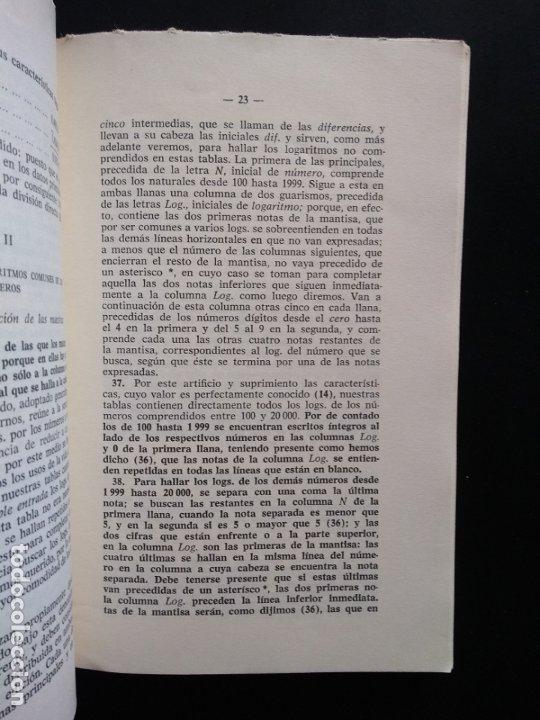 Libros de segunda mano de Ciencias: TABLAS DE LOS LOGARITMOS VULGARES | VICENTE VÁZQUEZ | HERNANDO 1974 - Foto 4 - 180282173