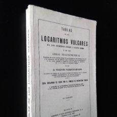 Libros de segunda mano de Ciencias: TABLAS DE LOS LOGARITMOS VULGARES | VICENTE VÁZQUEZ | HERNANDO 1974. Lote 180282173