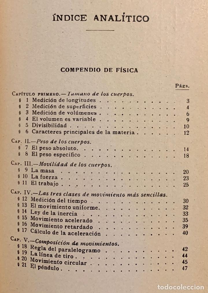Libros de segunda mano de Ciencias: 1938, COMPENDIO DE FÍSICA Y QUÍMICA. Juan Kleiber y José Estalella. - Foto 5 - 181906467