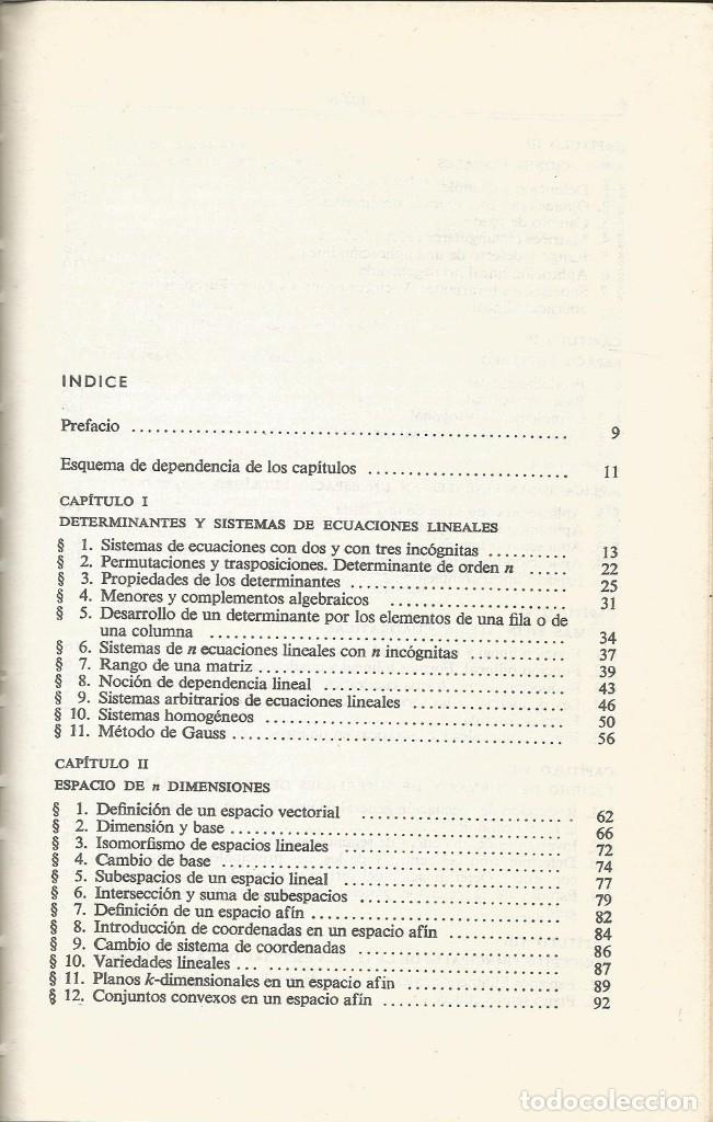 Libros de segunda mano de Ciencias: Álgebra lineal y algunas de sus aplicaciones. L. I. Golovina. 2a. edición. Editorial Mir. - Foto 2 - 182723313