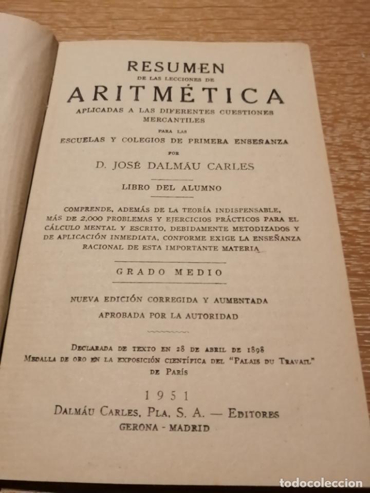Libros de segunda mano de Ciencias: RESUMEN DE LAS LECCIONES DE ARITMETICA. - Foto 3 - 184492583