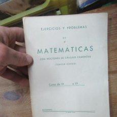 Libros de segunda mano de Ciencias: EJERCICIOS Y PROBLEMAS DE MATEMÁTICAS (TERCER CURSO). L.14131-248. Lote 184761921