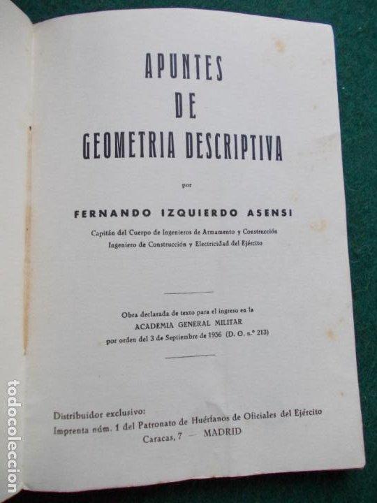 Libros de segunda mano de Ciencias: APUNTES DE GEOMETRÍA DESCRIPTIVA - Foto 2 - 187164593