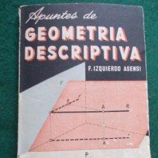 Libros de segunda mano de Ciencias: APUNTES DE GEOMETRÍA DESCRIPTIVA. Lote 187164593