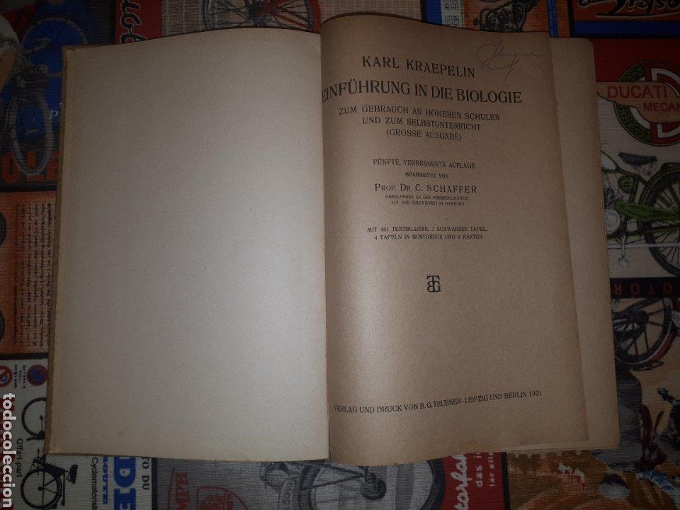 Libros de segunda mano: Einführung in die Biologie. Prof. Dr. Karl Kraepelin. Berlín, 1921. - Foto 5 - 188819341