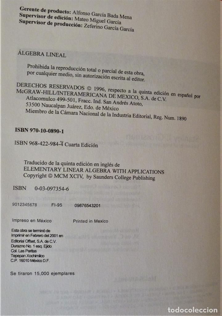 Libros de segunda mano de Ciencias: ALGEBRA LINEAL - STANLEY I. GROSSMAN - MC GRAW HILL - Foto 5 - 189594811