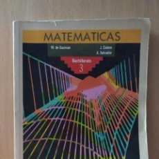 Libros de segunda mano de Ciencias: MATEMÁTICAS, BACHILLERATO 3. ANAYA.1992. Lote 189971990