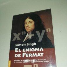 Libros de segunda mano de Ciencias: SIMON SINGH, EL ENIGMA DE FERMAT. Lote 191313163