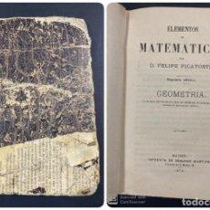 Libros de segunda mano de Ciencias: ELEMENTOS DE MATEMATICAS. FELIPE PICATOSTE. GEOMETRIA. 2ª EDICION. MADRID, 1972. PAGS:107. Lote 191587881