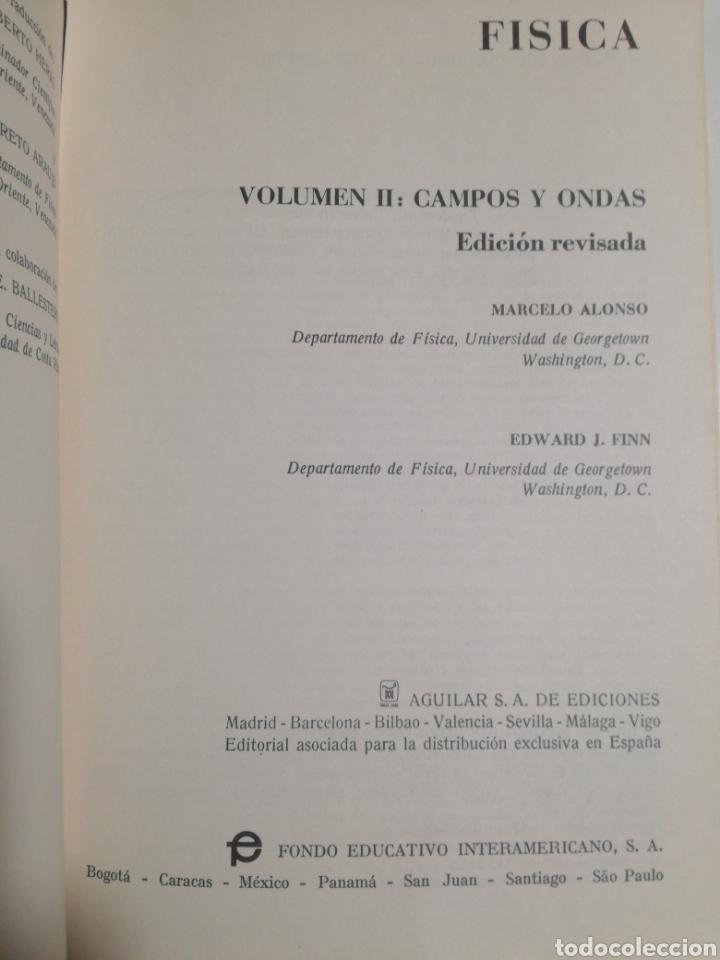Libros de segunda mano de Ciencias: Fisica vol.II campos y ondas Alonso finn - Foto 3 - 194338248