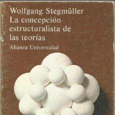 Libros de segunda mano de Ciencias: WOLFGANG STEGMULLER. LA CONCEPCION ESTRUCTURALISTA DE LAS TEORIAS. ALIANZA. Lote 194493560