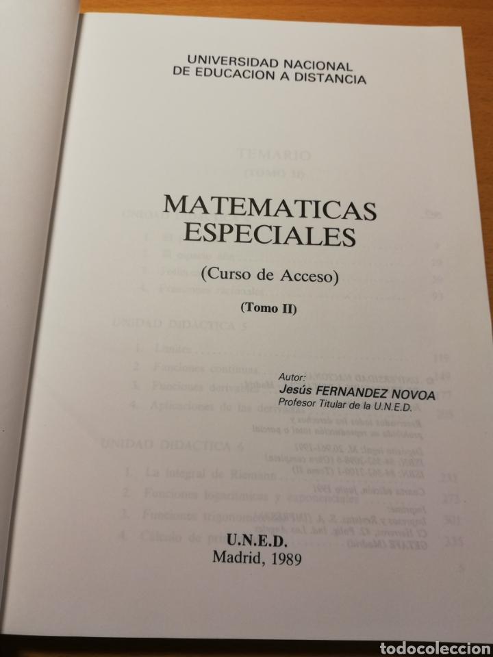 Libros de segunda mano de Ciencias: MATEMÁTICAS ESPECIALES. CURSO DE ACCESO. TOMO II (JESÚS FERNÁNDEZ NOVOA) UNED - Foto 2 - 194540013