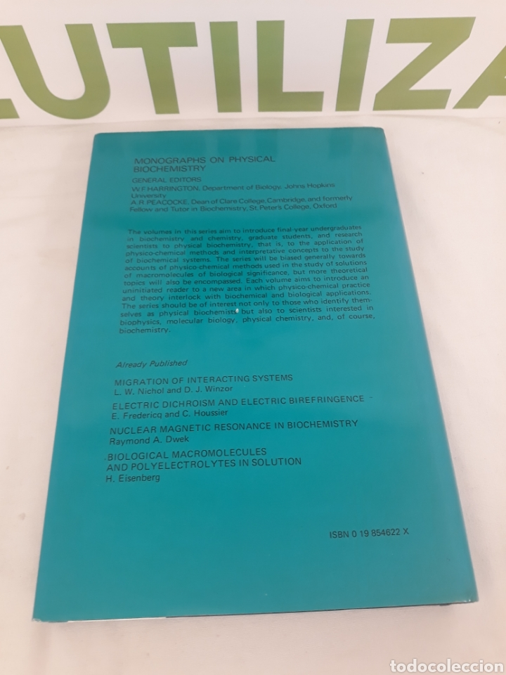 Libros de segunda mano de Ciencias: Cooperative Equilibria in Physical Biochemostry.D.Poland. - Foto 2 - 194568045