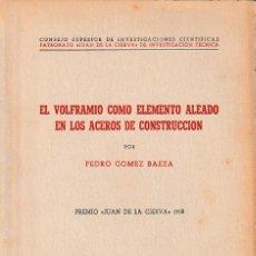 Libros de segunda mano de Ciencias: EL VOLFRAMIO COMO ELEMENTO ALEADO EN LOS ACEROS DE CONSTRUCCIÓN (GÓMEZ BAEZA 1953) SIN USAR. Lote 194619595