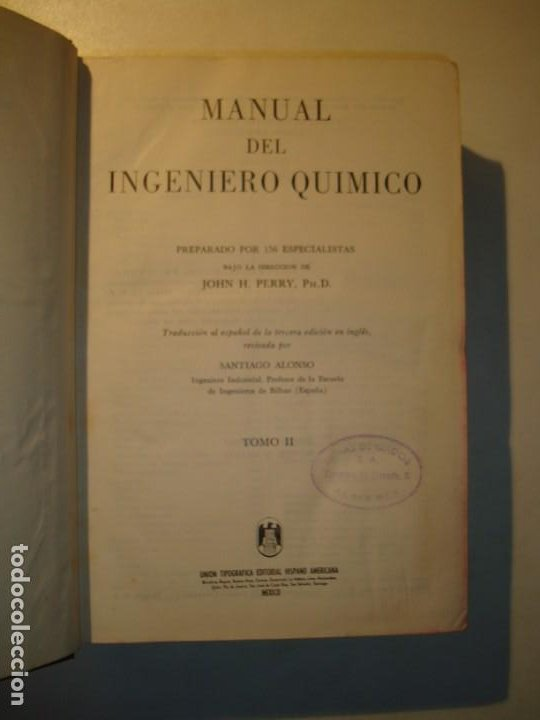 Libros de segunda mano de Ciencias: MANUAL DEL INGENIERO QUÍMICO TOMOS I Y II COMPLETO - JOHN H. PERRY - UTEHA MÉXICO 1959 - Foto 6 - 194720701