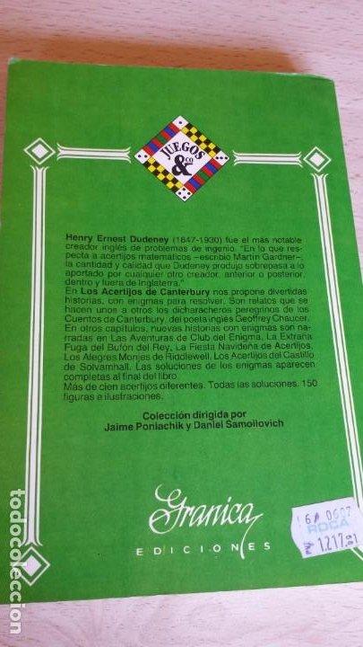 Libros de segunda mano de Ciencias: Los acertijos de Canterbury y otros problemas curiosos. Henry E. Dudeney - Foto 3 - 194734102