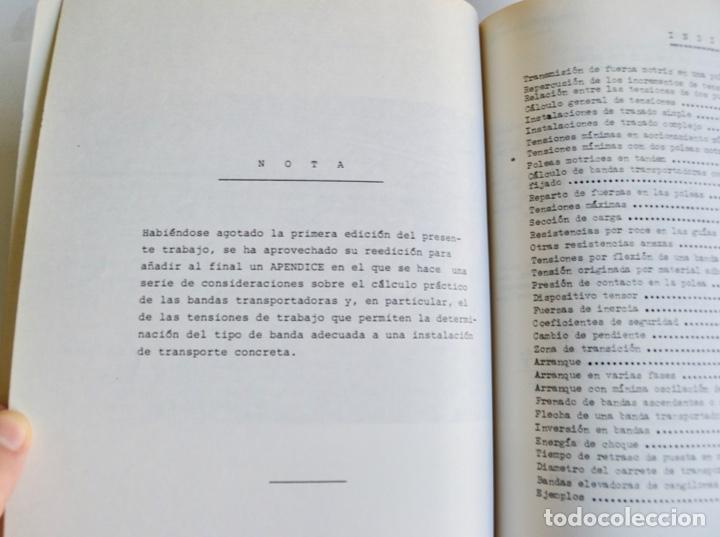 Libros de segunda mano de Ciencias: Mario Nin Sitja. Bases para el Cálculo de Bandas Transportadoras. Firestone Hispania, Basauri, 1987 - Foto 4 - 194880847