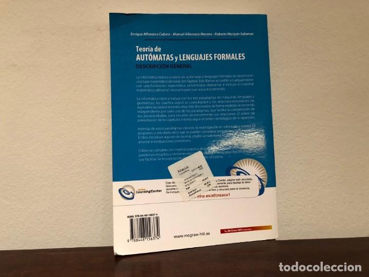 Libros de segunda mano de Ciencias: Teoría de autómatas y lenguajes formales. E. Alfonseca, M. Alfonseca R. Moriyón. Mc Graw Hill - Foto 2 - 195778148