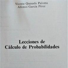 Libros de segunda mano de Ciencias: LECCIONES DE CÁLCULO DE PROBABILIDADES - VICENTE QUESADA - DÍAZ DE SANTOS. Lote 196287412