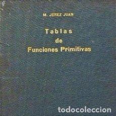 Libros de segunda mano de Ciencias: TABLAS DE FUNCIONES PRIMITIVAS - M. JEREZ JUAN - TECNOS. Lote 190764695
