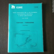 Libros de segunda mano: MAPA GEOLÓGICO PLATAFORMA CONTINENTAL ESPAÑOLA ZONAS ADYACENTE TORTOSA TARRAGONA 1:200000 IGME 1986. Lote 199003506