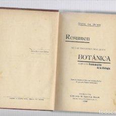 Libros de segunda mano: RESUMEN DE LAS LECCIONES ORALES DE BOTANICA BARCELONA 1906. Lote 200815818
