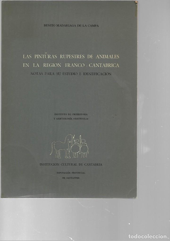 LIBRO DE BENITO M. A DE LA CAMPA LAS PINTURAS RUPESTRE DE ANIMALES EN LA REGION FRANCO - CANTABRI (Libros de Segunda Mano - Ciencias, Manuales y Oficios - Paleontología y Geología)