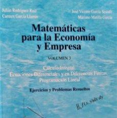Libros de segunda mano de Ciencias: MATEMATICAS PARA LA ECONOMIA Y EMPRESA - JULIAN RODRIGUEZ RUIZ - EDICIONES ACADÉMICAS, S.A. Lote 189885786
