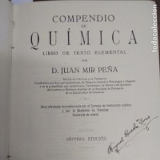 Libros de segunda mano de Ciencias: COMPENDIO DE QUÍMICA, D.JUAN MIR PEÑA. L.5798-1064. Lote 206317950