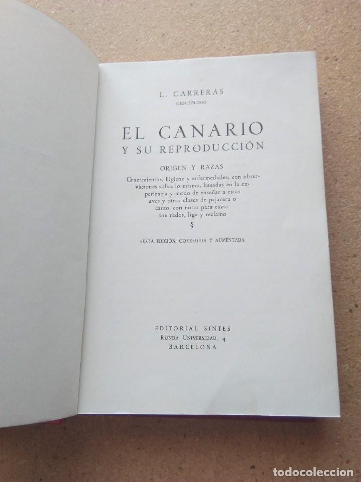 Libros de segunda mano: EL CANARIO Y SU REPRODUCCION. L. CARRERAS 1951 - Foto 3 - 207241450