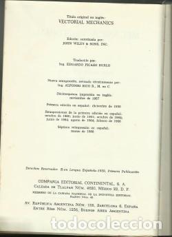 Libros de segunda mano de Ciencias: Mecánica Vectorial por Louis Brand 1968 - Foto 3 - 209239276
