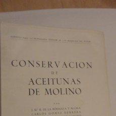 Livros em segunda mão: CONSERVACION DE ACEITUNAS DE MOLINO.SINDICATO NACIONAL DEL OLIVO 1958. Lote 211425919