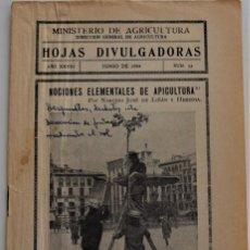 Livros em segunda mão: HOJAS DIVULGADORAS Nº 12 - JUNIO 1934 -MINISTERIO DE AGRICULTURA -NOCIONES ELEMENTALES DE APICULTURA. Lote 213968796