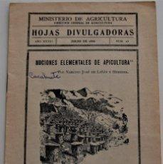 Livros em segunda mão: HOJAS DIVULGADORAS Nº 13 - JULIO 1934 -MINISTERIO DE AGRICULTURA -NOCIONES ELEMENTALES DE APICULTURA. Lote 213969463