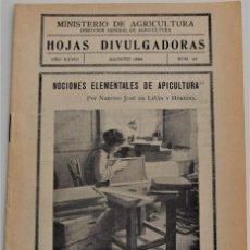 Livros em segunda mão: HOJAS DIVULGADORAS Nº 15 - AGOSTO 1934 - MINISTERIO DE AGRICULTURA - NOCIONES ELEMENTALES APICULTURA. Lote 213970098