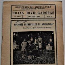 Livros em segunda mão: HOJAS DIVULGADORAS Nº 17 - SEPTIEMBRE 1934 - MINISTERIO DE AGRICULTURA - NOCIONES DE APICULTURA. Lote 213971517