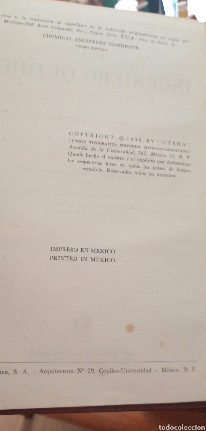Libros de segunda mano de Ciencias: JONH H. PERRY MANUAL DEL INGENIERO QUÍMICO AÑO 1958 - Foto 4 - 216459256
