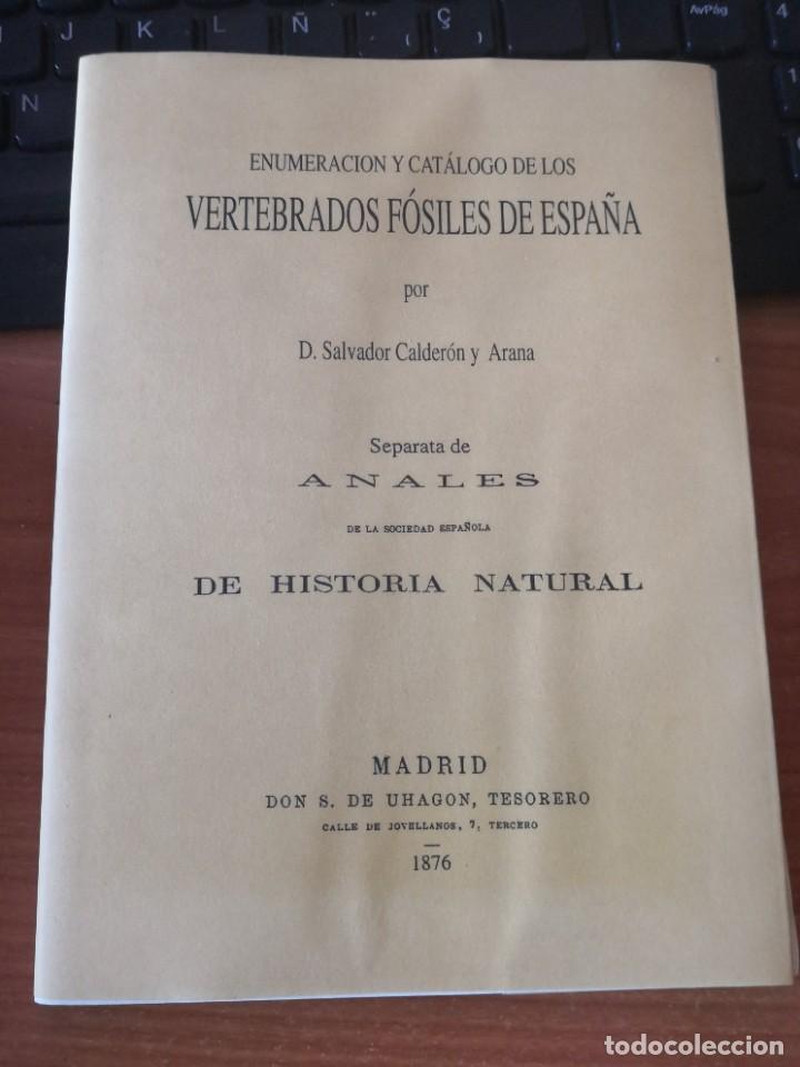 Libros de segunda mano: Enumeración y catálogo de los vertebrados fósiles de España.Salvador calderón y Arana 1876 facsimil - Foto 4 - 218522088