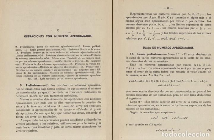 Libros de segunda mano de Ciencias: TEORIA DE ERRORES. NUMEROS APROXIMADOS. INGENIERIA. AVIACION. MINAS. MONTES. NAVALES. - Foto 2 - 222841322