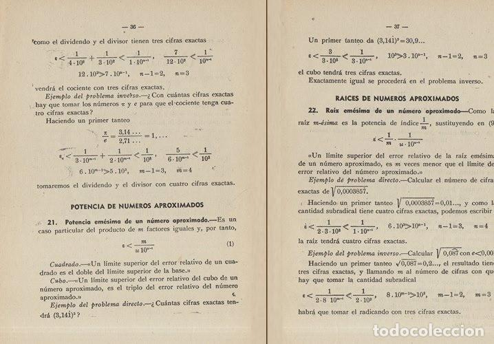 Libros de segunda mano de Ciencias: TEORIA DE ERRORES. NUMEROS APROXIMADOS. INGENIERIA. AVIACION. MINAS. MONTES. NAVALES. - Foto 3 - 222841322