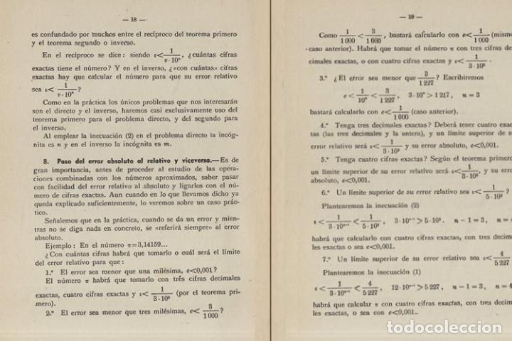 Libros de segunda mano de Ciencias: TEORIA DE ERRORES. NUMEROS APROXIMADOS. INGENIERIA. AVIACION. MINAS. MONTES. NAVALES. - Foto 4 - 222841322