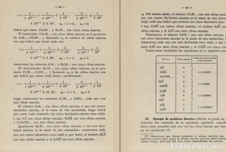 Libros de segunda mano de Ciencias: TEORIA DE ERRORES. NUMEROS APROXIMADOS. INGENIERIA. AVIACION. MINAS. MONTES. NAVALES. - Foto 5 - 222841322