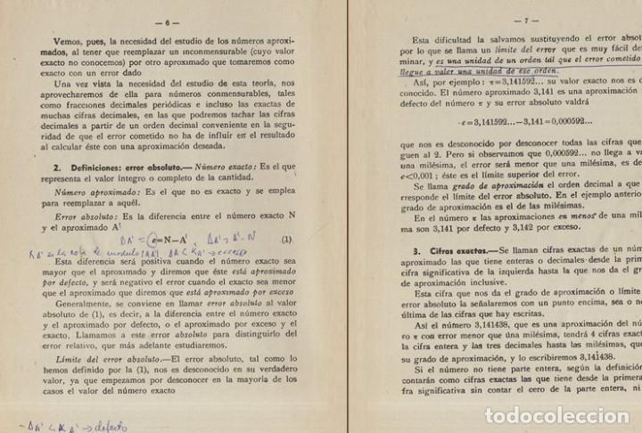Libros de segunda mano de Ciencias: TEORIA DE ERRORES. NUMEROS APROXIMADOS. INGENIERIA. AVIACION. MINAS. MONTES. NAVALES. - Foto 6 - 222841322